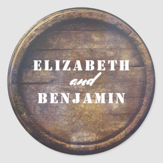 Rustic Old Wood Barrel Bottom Wedding Classic Round Sticker