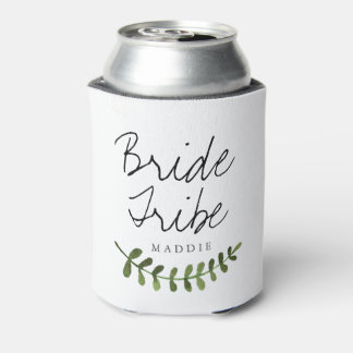 Rustic Ombre Watercolor Forest Bride Tribe Can Cooler