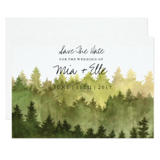 Rustic Ombre Watercolor Forest Save The Date Card