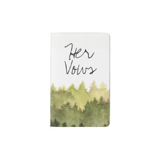 Rustic Ombre Watercolor Forest Wedding Her Vows Pocket Moleskine Notebook