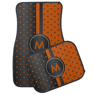Rustic Orange and Black Polka Dots Car Mat