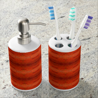 Rustic Orange Aztec Pattern Soap Dispenser And Toothbrush Holder