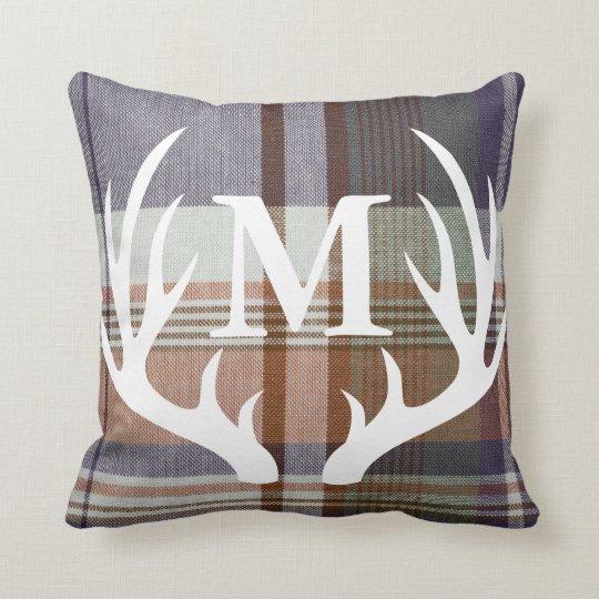 Rustic Orange Blue Plaid White Deer Antler Throw Pillow