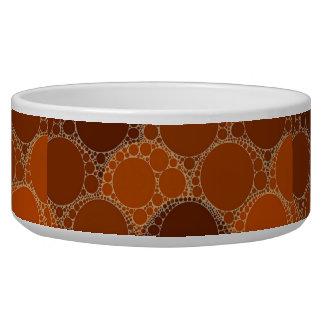 Rustic Orange Brown Circle Abstract Pet Food Bowl