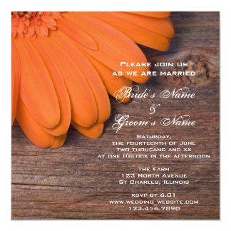 "Rustic Orange Daisy and Barn Wood Country Wedding 5.25"" Square Invitation Card"