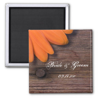 Rustic Orange Daisy and Barn Wood Country Wedding Magnet