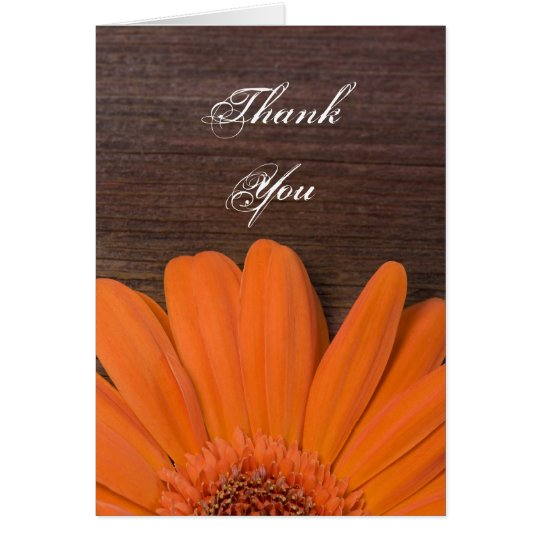 Rustic Orange Daisy and Barn Wood Thank You Card