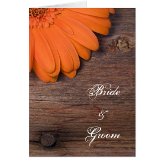 Rustic Orange Daisy Barn Wedding Invitation