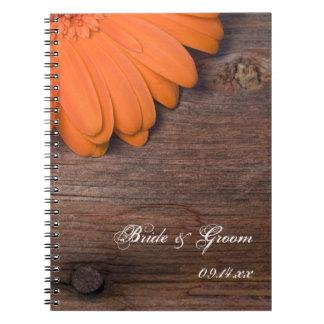 Rustic Orange Daisy Country Barn Wood Wedding Notebooks