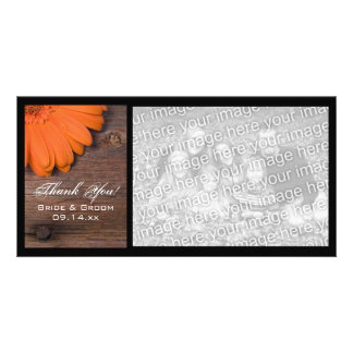 Rustic Orange Daisy Country Thank You Photo Card