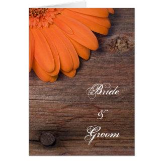 Rustic Orange Daisy Country Wedding Invitation Card