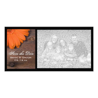 Rustic Orange Daisy Country Wedding Save the Date Personalized Photo Card