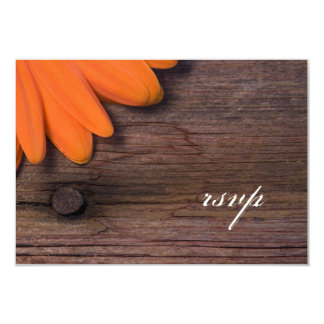 Rustic Orange Daisy Ranch Wedding RSVP Card