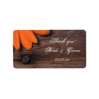 Rustic Orange Daisy Wedding Thank You Address Label