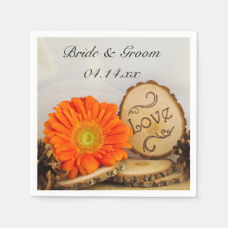 Rustic Orange Daisy Woodland Wedding Disposable Napkin