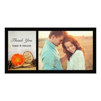 Rustic Orange Daisy Woodland Wedding Thank You Card