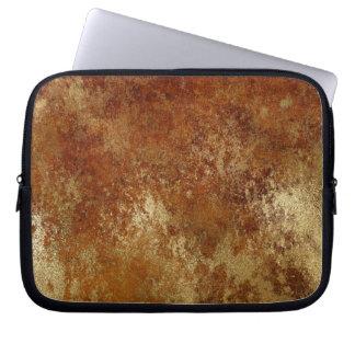 Rustic Orange Distressed Gold Texture Laptop Laptop Sleeve