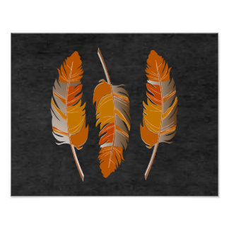 Rustic Orange Feathers on Black ChalkBoard Poster