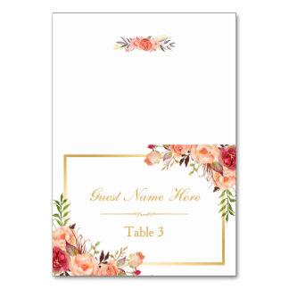 Rustic Orange Floral Fall Wedding Place Escort Card