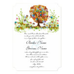 "Rustic Orange Pink Aqua Die Cut Love Tree Wedding 5"" X 7"" Invitation Card"