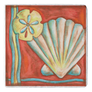 Rustic Orange Seashells Trivet
