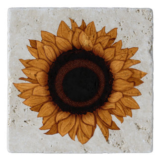 Rustic Orange Sunflower Stone Travertine Trivet