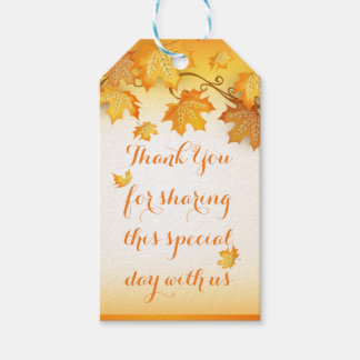 Rustic Orange Thank You Autumn Leaves Wedding Gift Tags