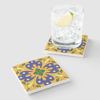 Rustic Orange Yellow And Blue Spanish Tile Coaster