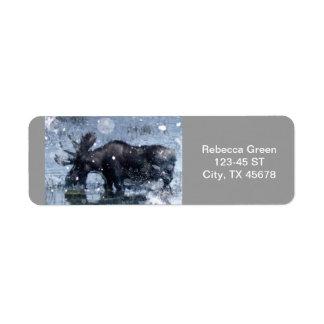 Rustic outdoorsman  wilderness wildlife bull moose return address label