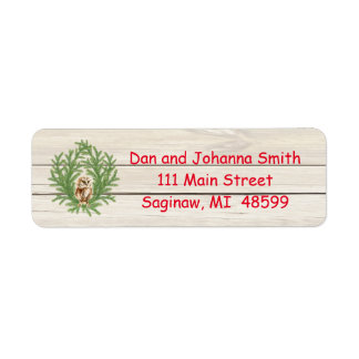 Rustic Owl and Wood Christmas Address Label