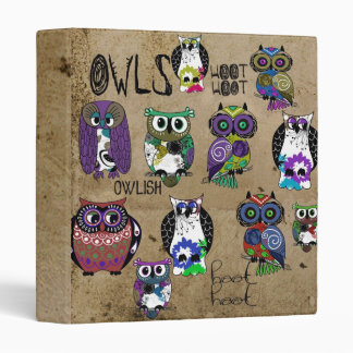 Rustic Owl Design 3 Ring Binders