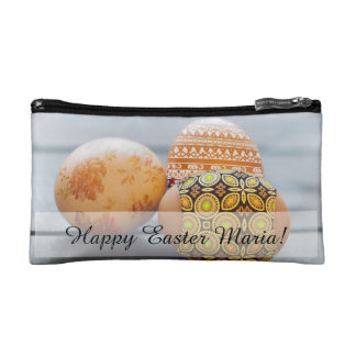 Rustic Painted Easter eggs Makeup Bag