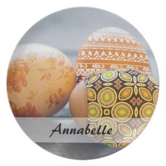 Rustic Painted Easter eggs Plate