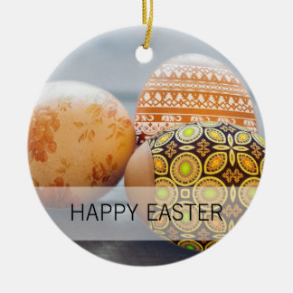 Rustic Painted Easter eggs Round Ceramic Ornament