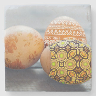 Rustic Painted Easter eggs Stone Coaster