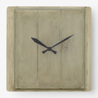 Rustic Painted Wood Square Wall Clock
