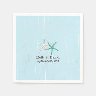 Rustic Pair of Starfish Light Blue Beach Wedding Disposable Napkins