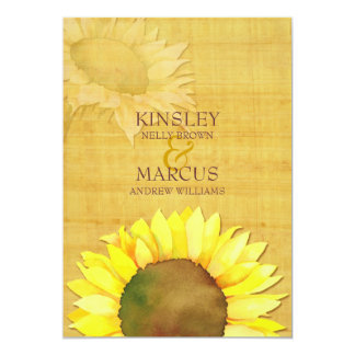 Rustic Papyrus & Watercolor Sunflowers Wedding Card
