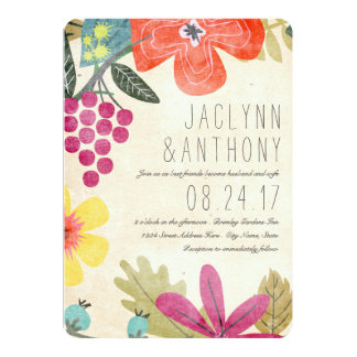 Rustic Paradise Photo Wedding Invitation / 5X7