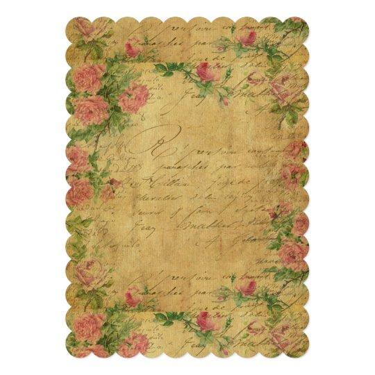 """rustic,Parchement,worn,floral,letters,vintage,vict 5"""" X 7"""" Invitation Card"""