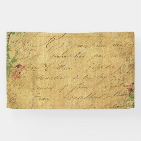 rustic,Parchement,worn,floral,letters,vintage,vict Banner