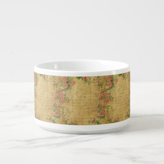 rustic,Parchement,worn,floral,letters,vintage,vict Bowl