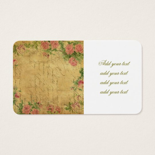 rustic,Parchement,worn,floral,letters,vintage,vict Business Card