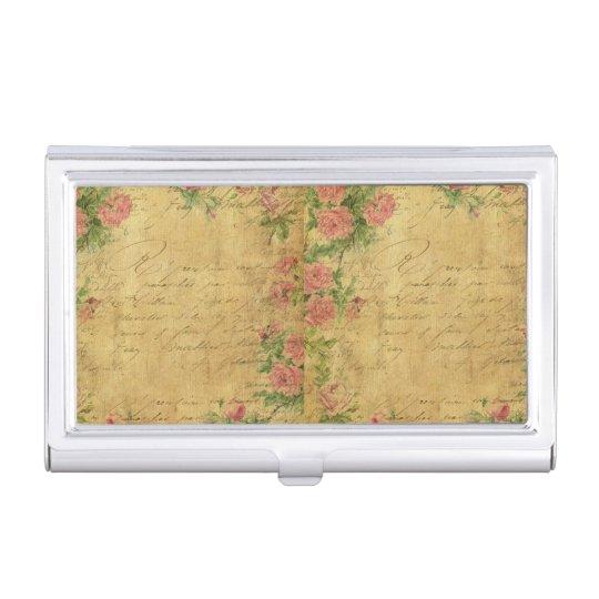 rustic,Parchement,worn,floral,letters,vintage,vict Business Card Holder