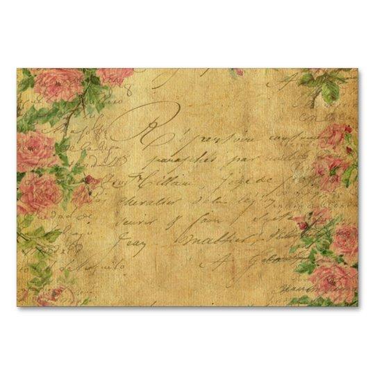 rustic,Parchement,worn,floral,letters,vintage,vict Card