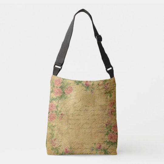 rustic,Parchement,worn,floral,letters,vintage,vict Crossbody Bag