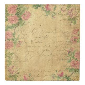 rustic,Parchement,worn,floral,letters,vintage,vict Duvet Cover