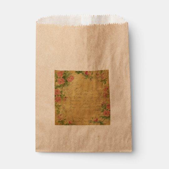 rustic,Parchement,worn,floral,letters,vintage,vict Favour Bag