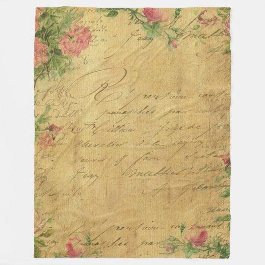 rustic,Parchement,worn,floral,letters,vintage,vict Fleece Blanket