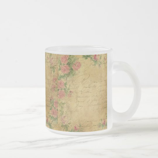 rustic,Parchement,worn,floral,letters,vintage,vict Frosted Glass Coffee Mug